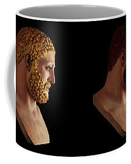 Coffee Mug featuring the mixed media The Many Faces Of Hercules by Shawn Dall