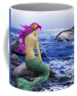 The Mermaid And The Dolphin Coffee Mug