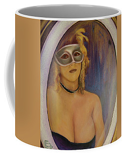 Coffee Mug featuring the painting The Mirror And The Mask Portrait Of Kelly Phebus by Ron Richard Baviello