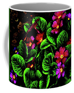 Coffee Mug featuring the digital art The Moody Primrose by Steve Taylor