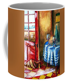 Coffee Mug featuring the painting The Mystery Room by Winsome Gunning