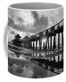 Naples Pier At Sunset Naples Florida Black And White Coffee Mug