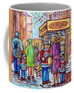 The Newsstand La Presse The Star Hockey Jerseys Plateau Mont Royal City Scene Painting C Spandau Art Coffee Mug