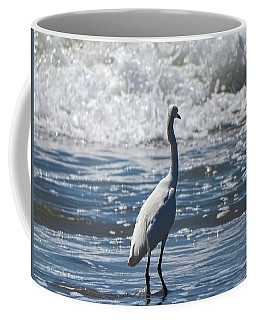 Egret And The Waves Coffee Mug
