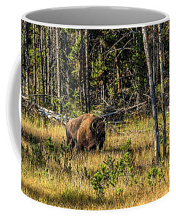 The Old Bison Bull In Fall Coffee Mug by Yeates Photography