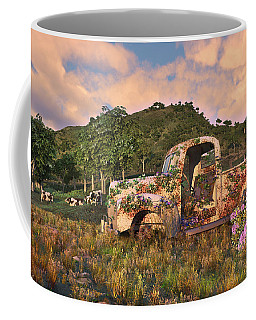 Coffee Mug featuring the digital art The Old Farm Truck by Mary Almond