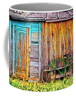 Coffee Mug featuring the painting The Old Green Bicycle by Edward Fielding