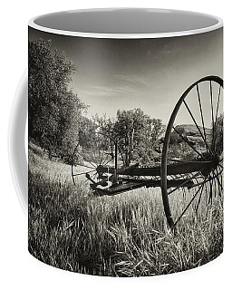 The Old Mower 2 In Black And White Coffee Mug by Endre Balogh