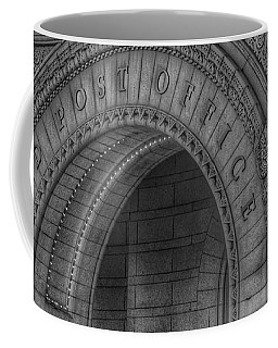 Coffee Mug featuring the photograph The Old Post Office Sign Now Trump International Hotel In Washington D.c.  - Black And White by Marianna Mills