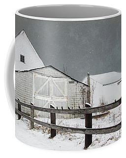 Coffee Mug featuring the photograph The Old White Barn by Robin-Lee Vieira