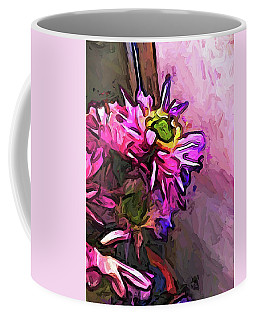 The Pink And Purple Flower By The Pale Pink Wall Coffee Mug