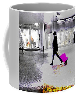 Coffee Mug featuring the photograph The Pink Bag by LemonArt Photography