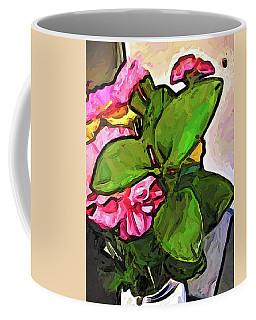 The Pink Flowers Behind The Green Leaves Coffee Mug