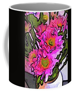 The Pink Flowers In The White Vase Coffee Mug