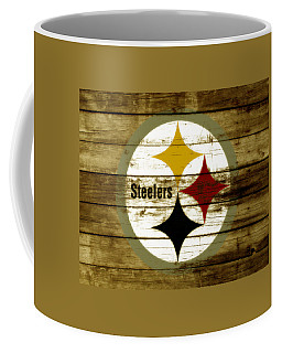 Coffee Mug featuring the mixed media The Pittsburgh Steelers W4 by Brian Reaves