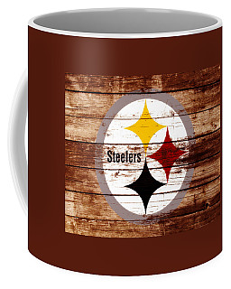 Coffee Mug featuring the mixed media The Pittsburgh Steelers W5 by Brian Reaves