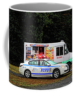 The Police Officer And The Hot Dog Vendor Coffee Mug