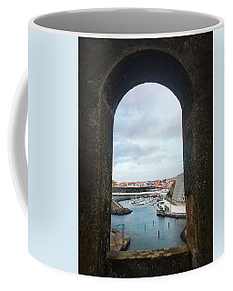 Coffee Mug featuring the photograph The Port Of Angra Do Heroismo From A Window In Forte De Sao Sebastiao by Kelly Hazel