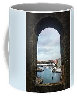 The Port Of Angra Do Heroismo From A Window In Forte De Sao Sebastiao Coffee Mug