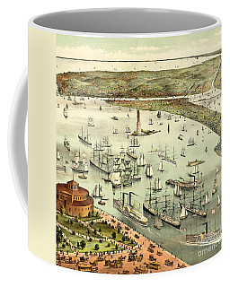 The Port Of New York, Birds Eye View From The Battery, Looking South, Circa 1892 Coffee Mug