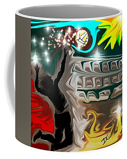 Coffee Mug featuring the digital art The Power Of Volleyball by Darren Cannell