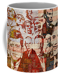 The Presidents Past Recycled Vintage License Plate Art Collage Coffee Mug
