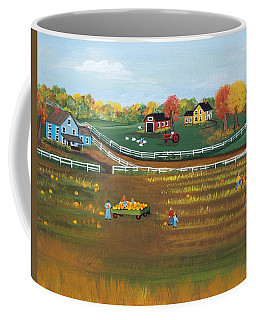 Coffee Mug featuring the painting The Pumpkin Patch by Virginia Coyle
