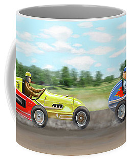 Coffee Mug featuring the digital art The Racers by Gary Giacomelli