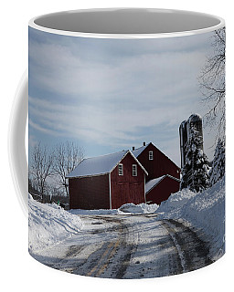 The Red Barn In The Snow Coffee Mug