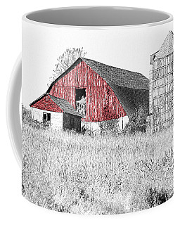 Coffee Mug featuring the photograph The Red Barn - Sketch 0004 by Ericamaxine Price
