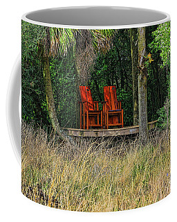 Coffee Mug featuring the photograph The Red Chairs by Deborah Benoit