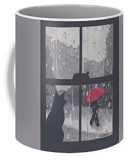 Coffee Mug featuring the painting The Red Umbrella by Quwatha Valentine