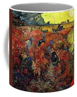 Coffee Mug featuring the painting The Red Vineyard At Arles by Van Gogh