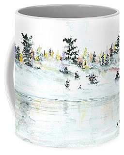 Coffee Mug featuring the painting The Reflection Lake by Darren Cannell