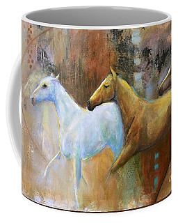 The Reflection Of The White Horse Coffee Mug by Frances Marino