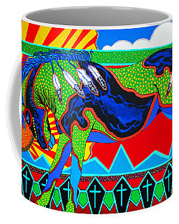 Coffee Mug featuring the painting The Ride Is On  by Debbie Chamberlin