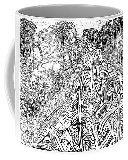 Coffee Mug featuring the drawing The Road To Mokasi From Baoma Kpengeh by Mudiama Kammoh