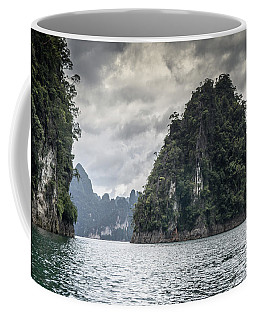 Coffee Mug featuring the photograph the rocks of Cheow Lan Lake by Michelle Meenawong