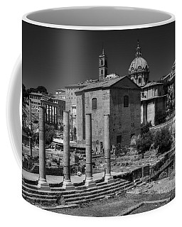 Coffee Mug featuring the photograph The Roman Forum 003 Bw by Lance Vaughn