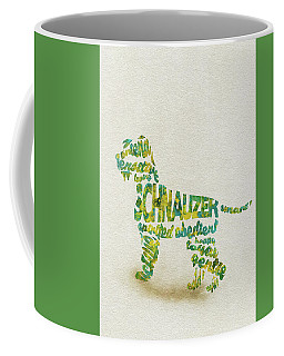 Coffee Mug featuring the painting The Schnauzer Dog Watercolor Painting / Typographic Art by Ayse and Deniz