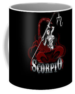 Coffee Mug featuring the drawing The Scorpion - Scorpio Spirit by Raphael Lopez