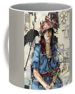 Coffee Mug featuring the mixed media The Seer by Carrie Joy Byrnes