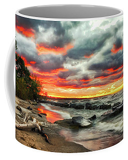 The Sky On Fire At Sunset On Lake Erie Coffee Mug