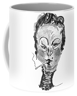 Coffee Mug featuring the mixed media The Smoker - Black And White by Marian Voicu