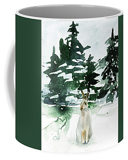 Coffee Mug featuring the painting The Snow Bunny by Colleen Taylor