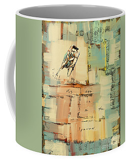 Coffee Mug featuring the mixed media The Sparrow by Carrie Joy Byrnes
