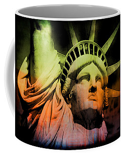 Coffee Mug featuring the digital art The Statue Of Liberty by Kim Gauge