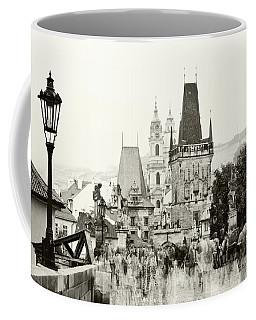 Coffee Mug featuring the photograph The Stream Of People On Charles Bridge. Prague by Jenny Rainbow