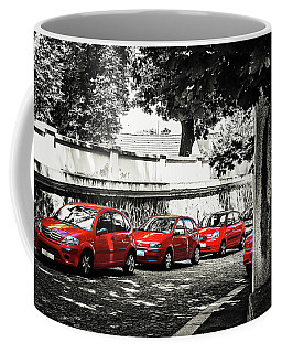Coffee Mug featuring the photograph The Street Of Red Cars by Jenny Rainbow