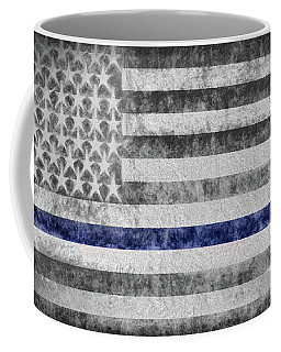 Coffee Mug featuring the digital art The Thin Blue Line American Flag by JC Findley